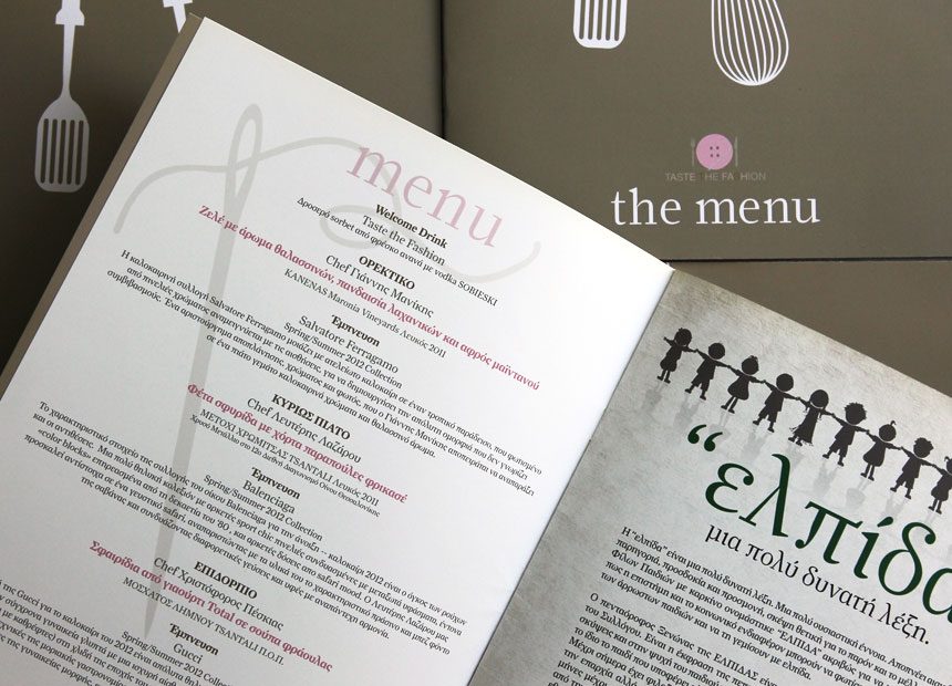 Taste the Fashion 2. Menu page.