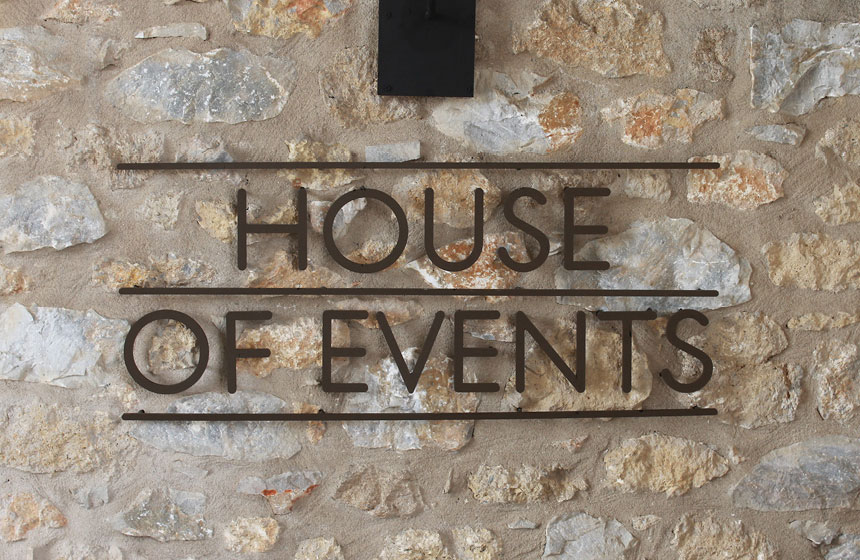Costa Navarino Typography:  House Of Events Sign