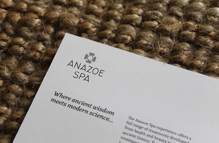 Costa Navarino Typography:  Anazoe Spa Brochure